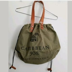 Olive Camo Grn Canvas Beach Bag Tote Leather Strap